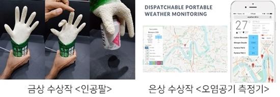 (좌) 금상 수상작 인공팔 사진 (우) 은상 수상작 오염공기 측정기 사진