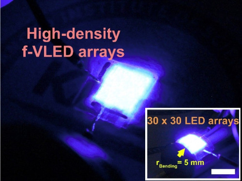 Figure 2. Photo of high-performance and high-density blue f-VLED arrays