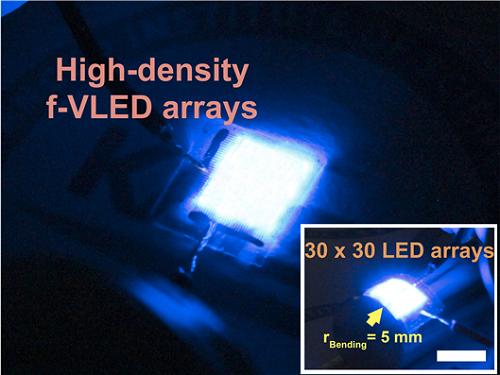 고효율의 유연 수직형 청색 마이크로 LED 30x30 어레이