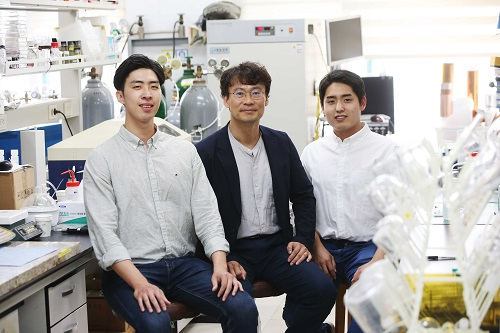 from left: PhD candidate Soohyun Kim, Professor Hee-Tak Kim and PhD candidate Junghoon Choi