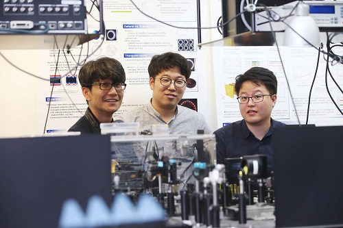 (from left: Professor Bumki Min, PhD candidate Jaehyeon Son and PhD Kanghee Lee)
