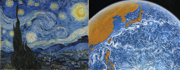 Figure 1.'The Starry Night' of Van Gogh and the 'Perpetual Ocean' created by NASA's Goddard Space Flight Center.