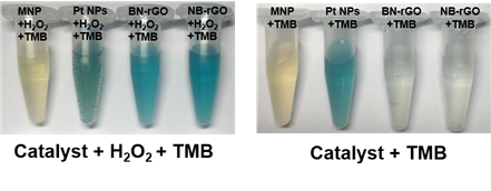 Figure 1. Comparison of the catalytic activities of various nanozymes and horseradish peroxidase (HRP) toward TMB and H₂O₂